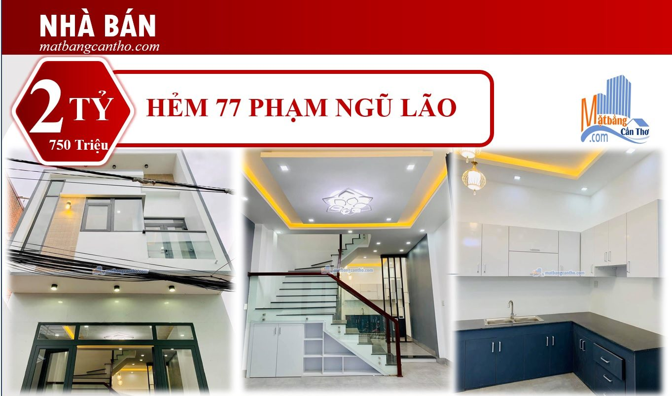 Bán Nhà mới hoàn thiện trục chính Hẻm 77 Phạm Ngũ Lão. Giá: 2 Tỷ 750 triệu