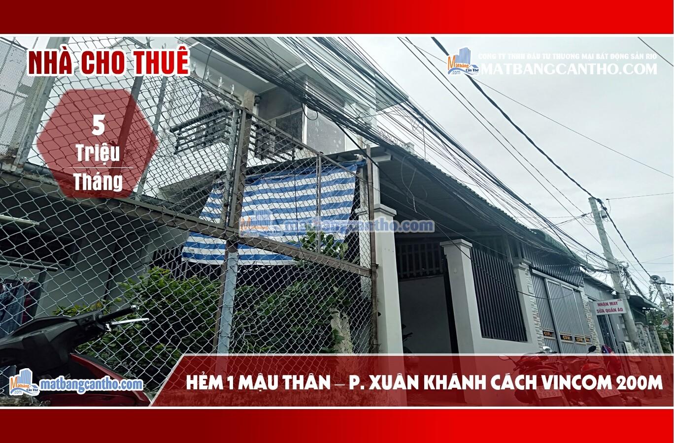 Nhà cho thuê nhà riêng nguyên căn hẻm Mậu Thân – Phường Xuân Khánh 5 triệu/ tháng